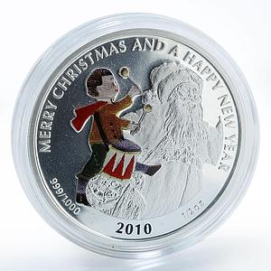 Liberia 2 dollars Drummer Merry Christmas Happy New Year silver coin 2010