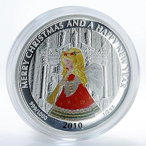 Liberia 2 dollars Merry Christmas Happy New Year Angel silver coin 2010