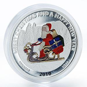 Liberia 2 dollars Merry Christmas Happy New Year Santa Claus silver coin 2010