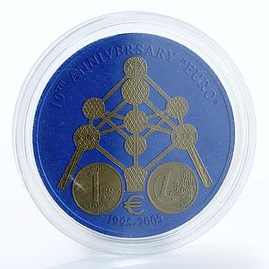 Liberia 5 dollars 10 years old euro Brussels Atomium niobium coin 2005