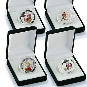 Liberia set of 6 coins Christmas and New Year santa silver 1/2 oz coin 2010