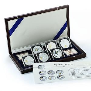 Liberia set of 6 coins Kremlin Series silver gilded proof coin 2011