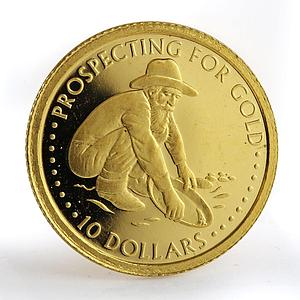 Solomon island 10 dollars Prospecting for gold Prospector gold coin 2005