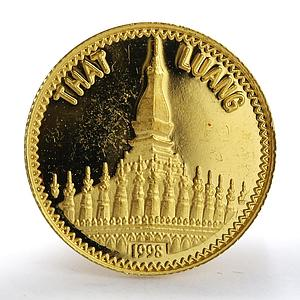 Laos 2000 kip That Luang Buddhism Shrine Architecture gold coin 1998