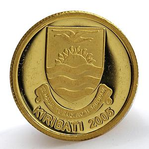 Kiribati 10 dollars Christmas Island Shield Angel gold coin 2005