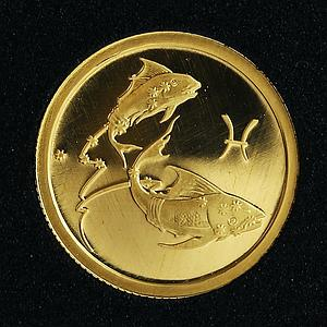 Russia 25 rubles Zodiac Pisces Fish gold coin 2003