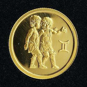 Russia 25 rubles Zodiac Gemini Twins gold coin 2003