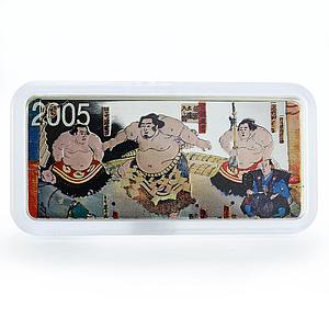Mongolia 5000 tugriks Sumo wrestling Japan martial art silver 5 oz coin 2005