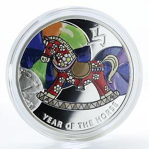 Niue 1 dollar Year of the Horse Horse-toy Lunar New Year silver coin 2014