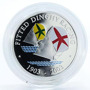 Bermuda 5 dollars Fitted Dinghy Racing ship proof silver coin 2003