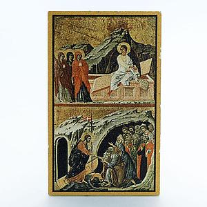Niue 1$ Passion of Christ Duccio Maesta Siena The Road to Emmaus coin 2012