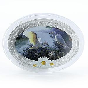 Niue 2 dollars Family Love Fidelity oval chamomile silver color coin 2011