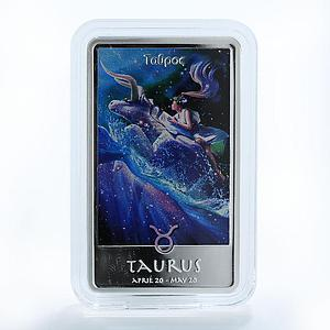 Niue 2 dollars Signs of the Zodiac Taurus silver colored 1 oz coin - ingot 2012