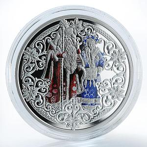 Niue Island 1 dollar Father Frost and Snow Maiden New Year silver coin 2009