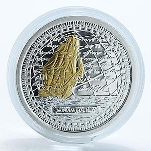Pitcairn Islands 2 dollars HM Armed Vessel Bounty ship silver gilded coin 2010