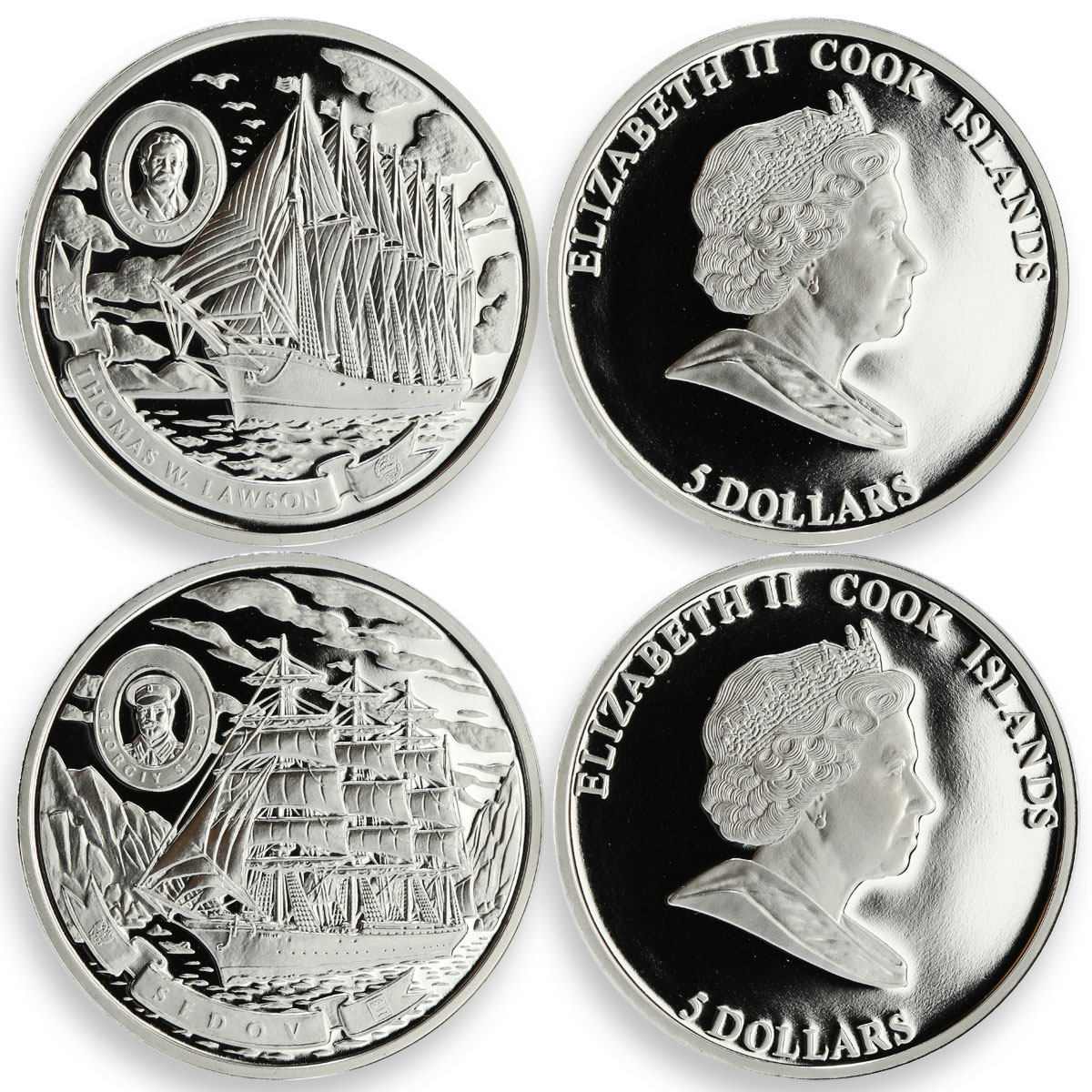 Cook Islands set 6 coins Tall Ships of 20th century silver 2008