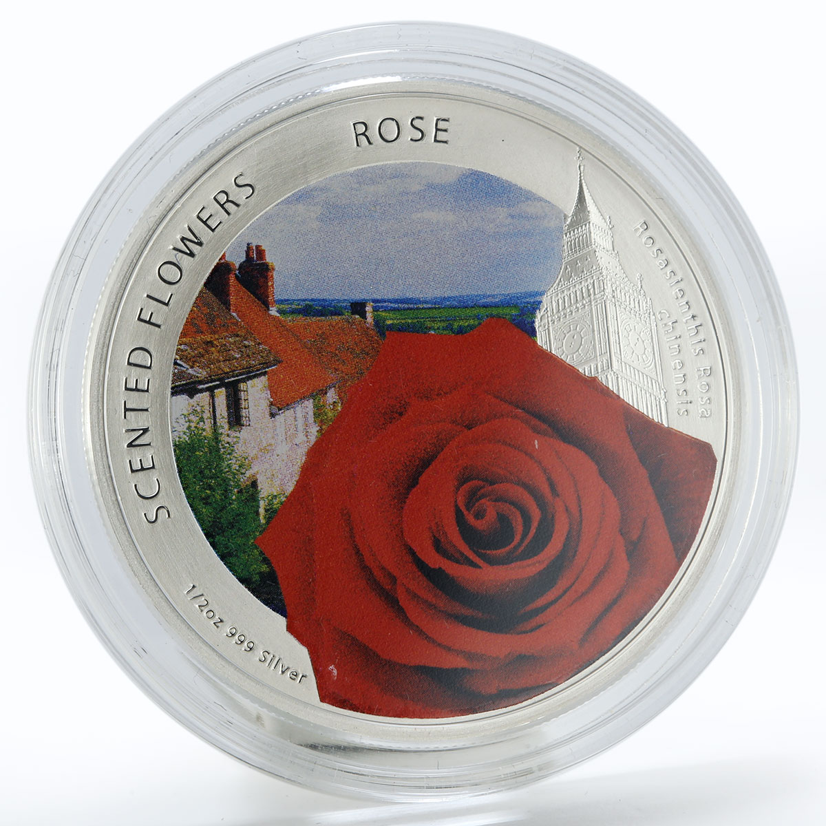 Niue 1 dollar Scented Flowers Rose colored silver coin 2013