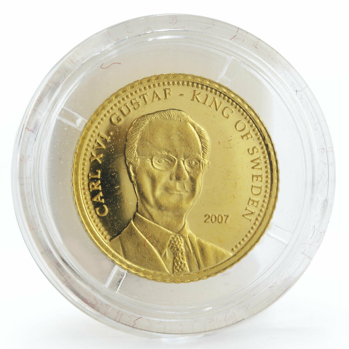 Cook Islands 10 dollars Carl XVI Gustaf King of Sweden gold coin 2007