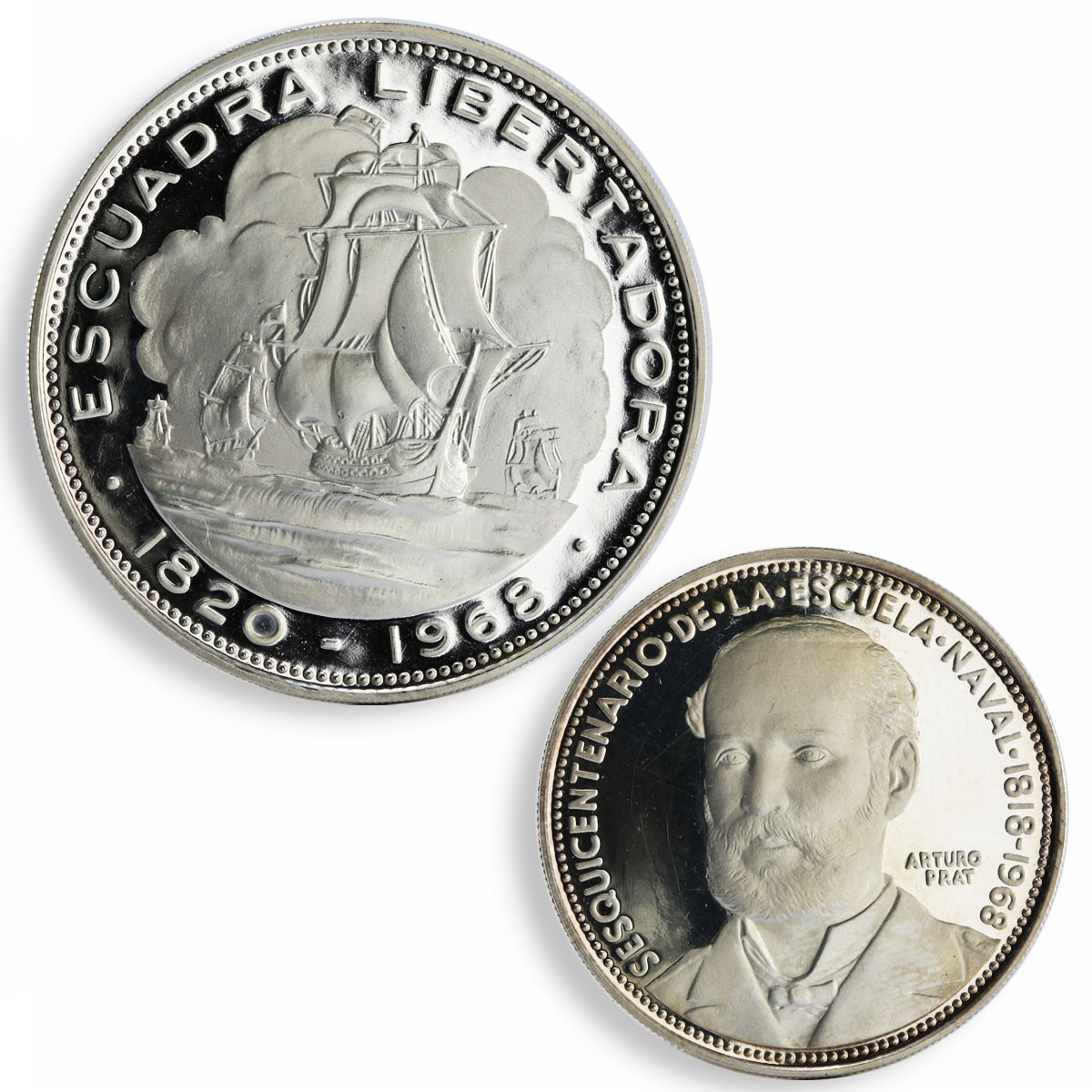 Chile set of 2 coins Captain Arturo Liberation Fleet proof silver coin 1968
