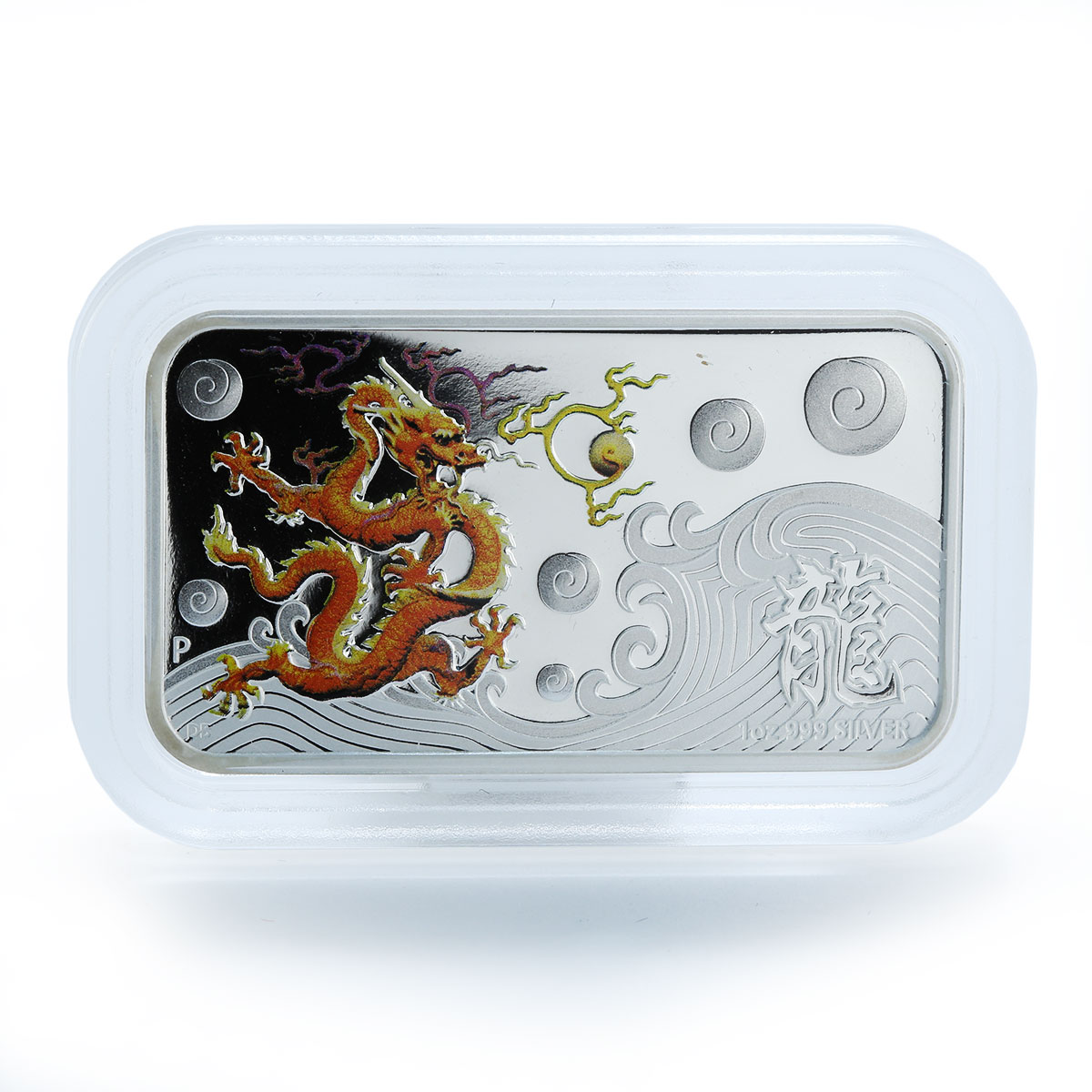Cook Islands $1 Year of the Dragon Yellow 2012 Rectangular 1oz Silver Coin Proof
