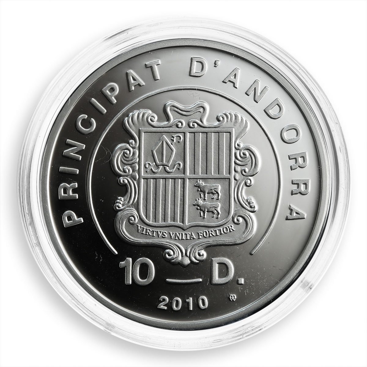 Andorra, 10 dinars, Holy Helpers, St. Catherine, silver Proof coin, 2010
