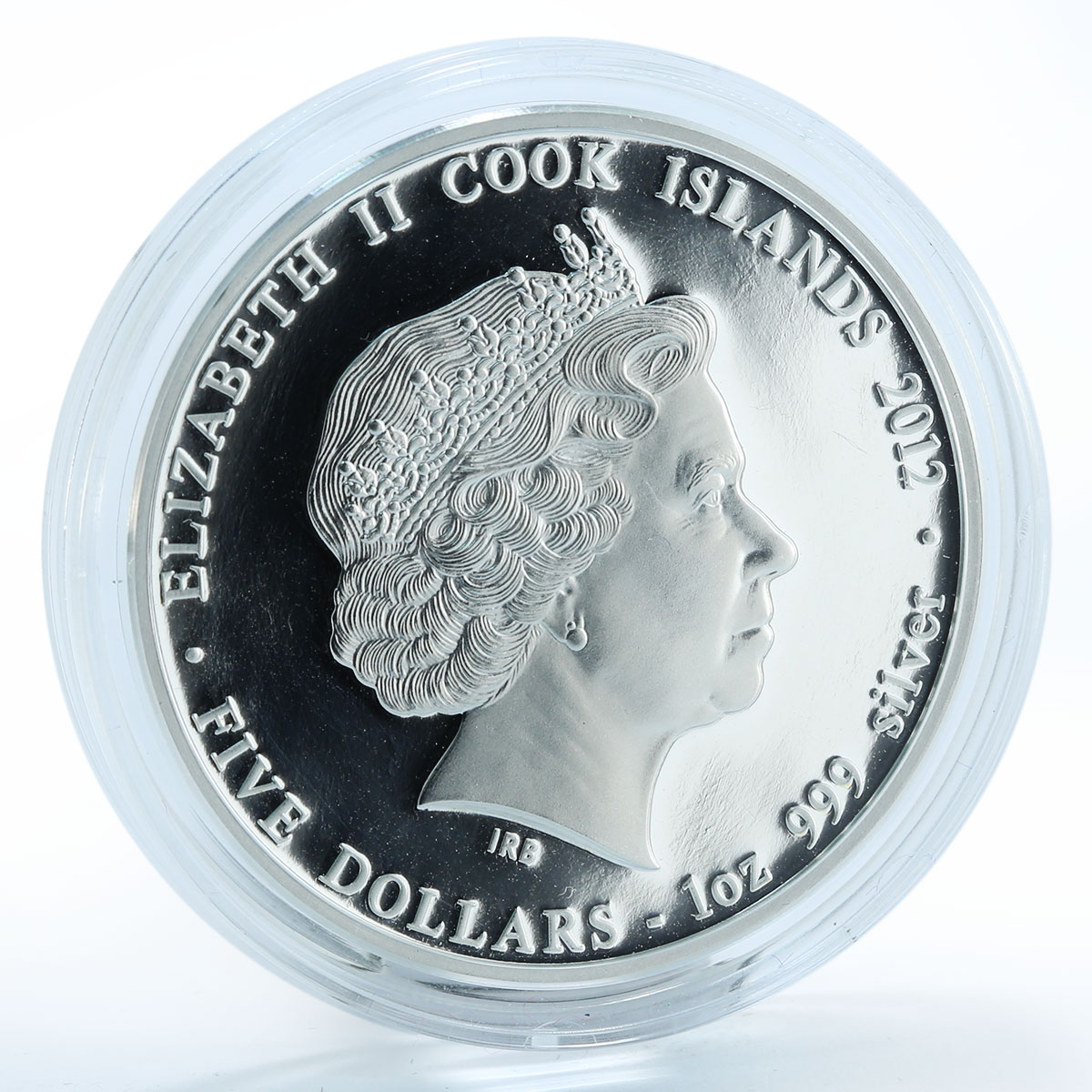 Cook Islands, $5, Year of the Dragon Best of Luck 2012 1oz Silver Coloured