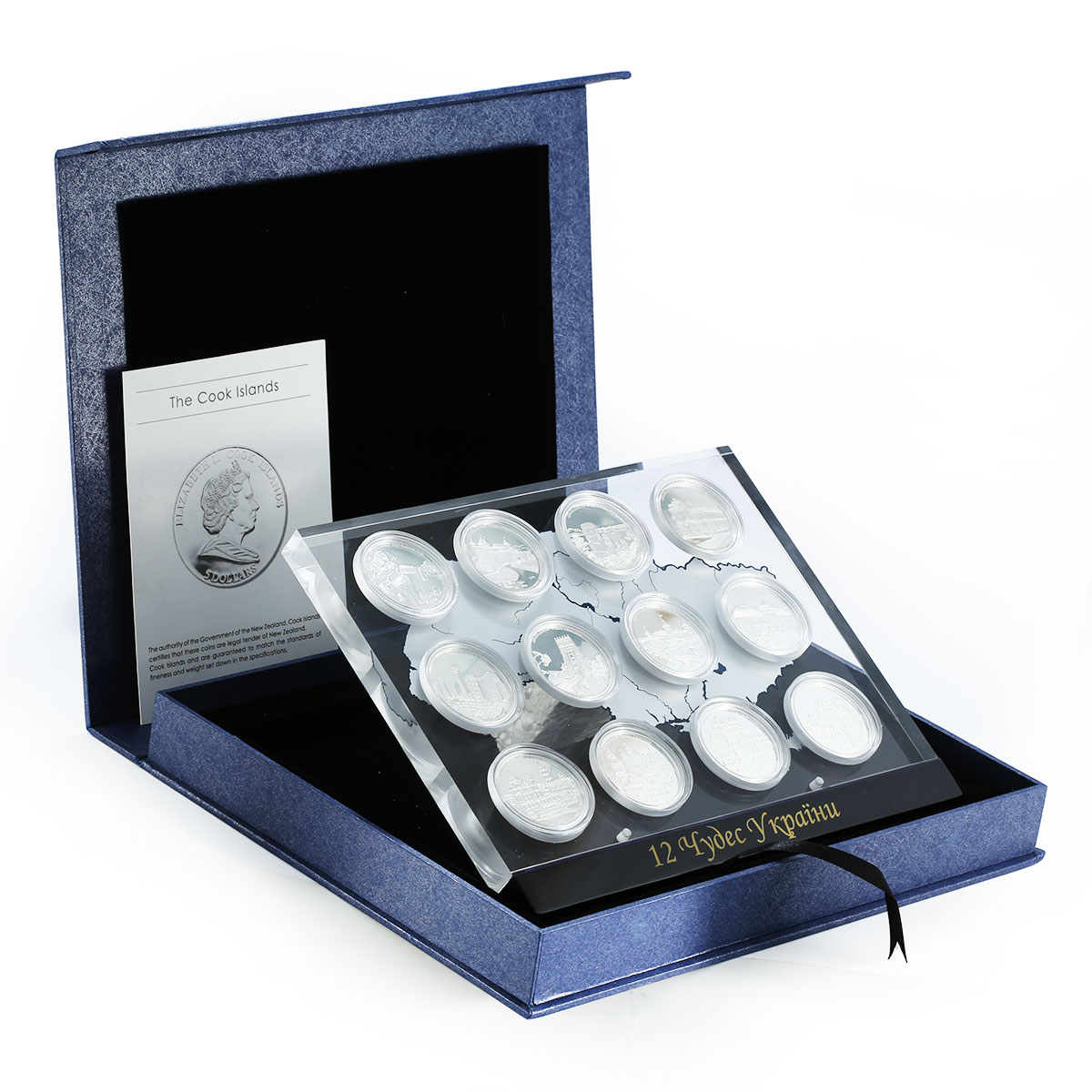 Cook Islands, 5 dollars, 12 coins Set, 12 Wonders of Ukraine silver proof 2009