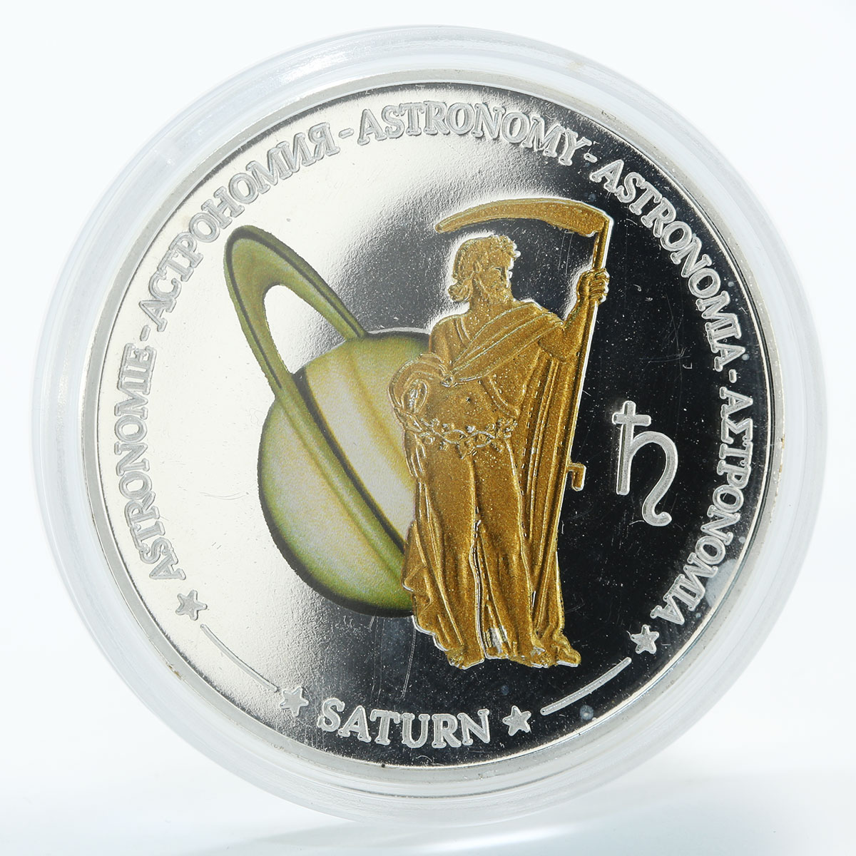 Fiji 1 dollar Astronomy Saturn proof copper silverplated coin 2011