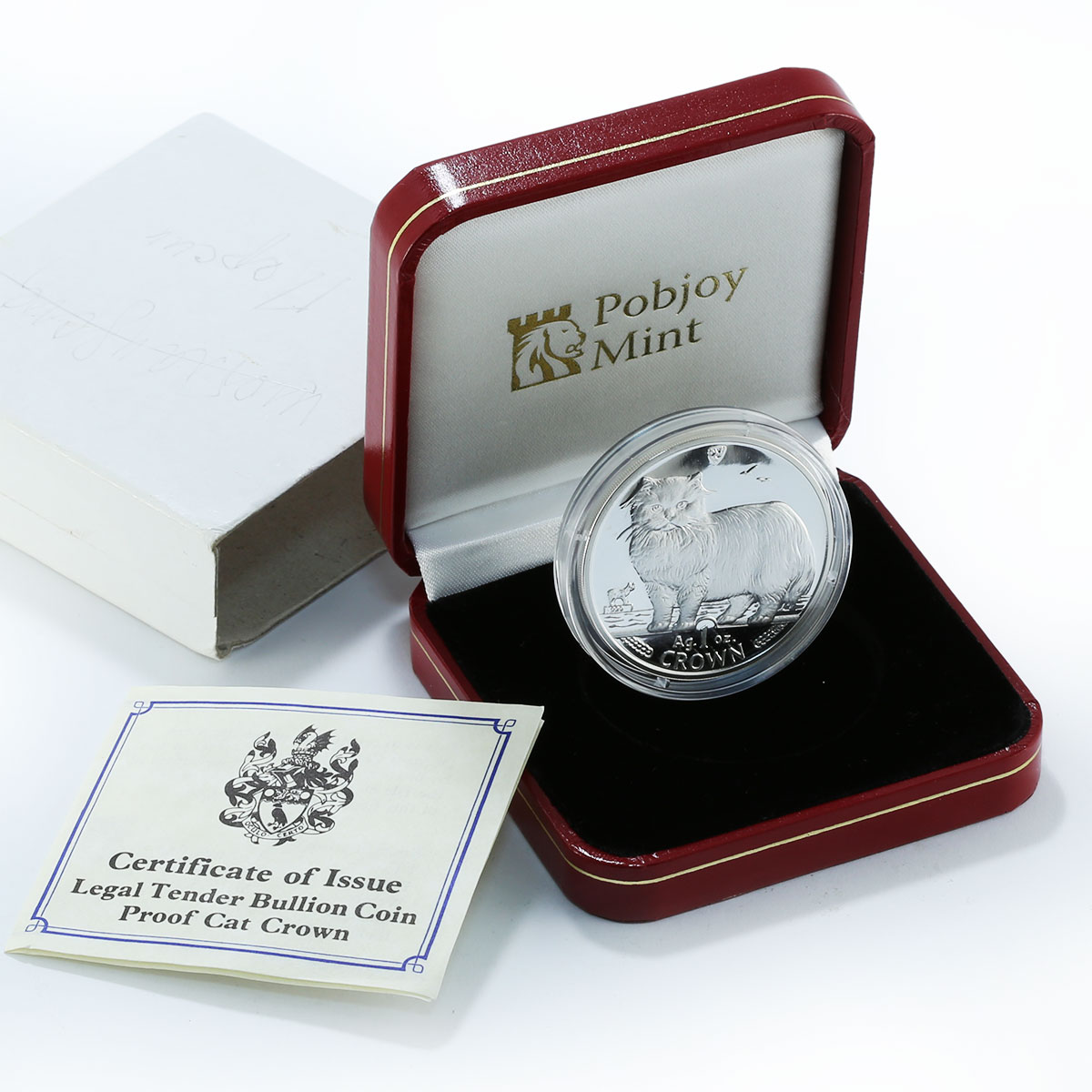 Isle of Man, 1 crown, Persian cat, silver, proof, coin 1989