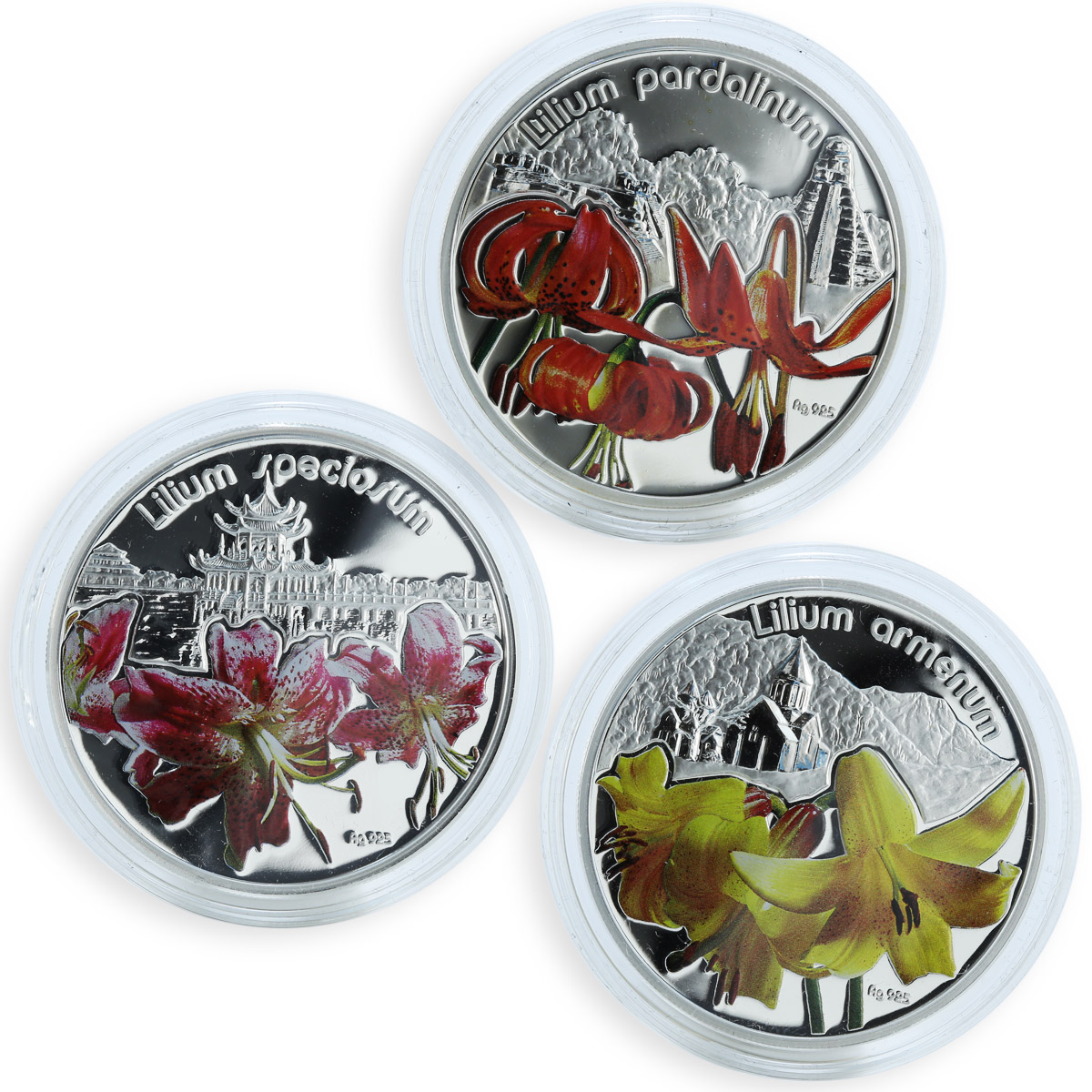 Niue $1 Magical Flowers Lilies Set of 3 Silver Coloured Proof Coins 2012