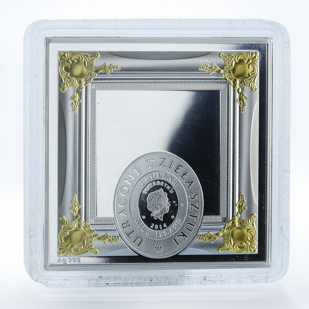 Niue 1 $ Portrait of a young man Raphael Santi silver proof swarovski coin 2014