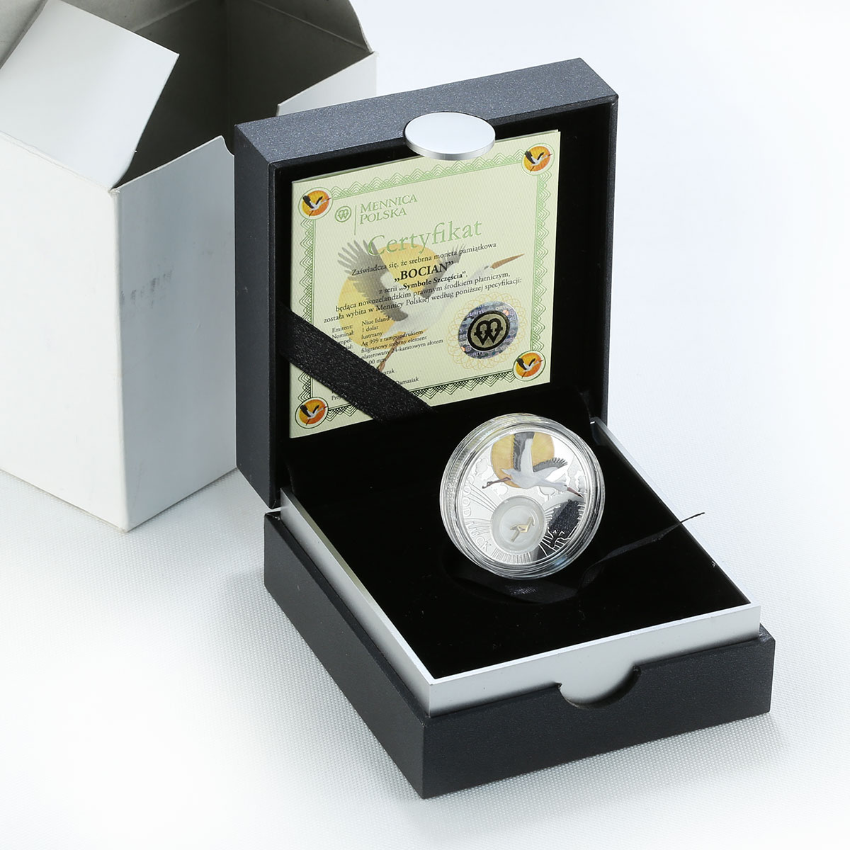 Niue 1 dollar Lucky coins Stork family love silver proof coin 2014