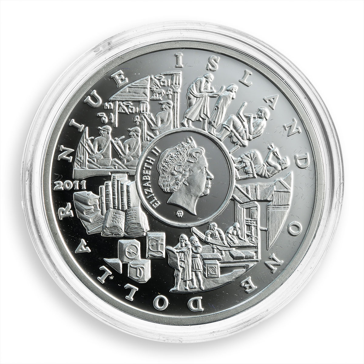 Niue 1 dollar Mankind's Crucial Achievements Writing silver proof coin 2011