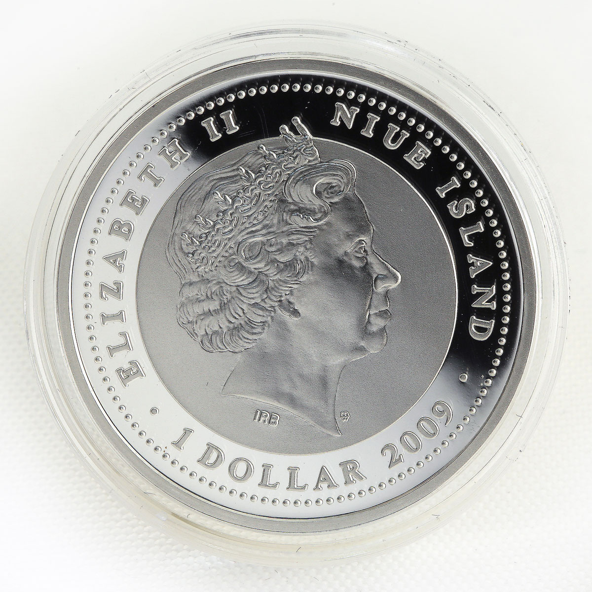 Niue 1 dollar Year of the Tiger Lunar silver color coin 2009