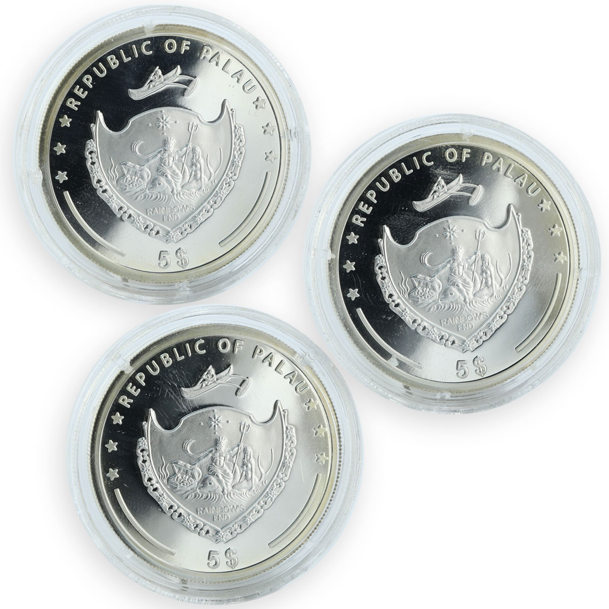 Palau 5 dollars set of 3 coins Pacific Wildlife Colourful Birds silver 2006
