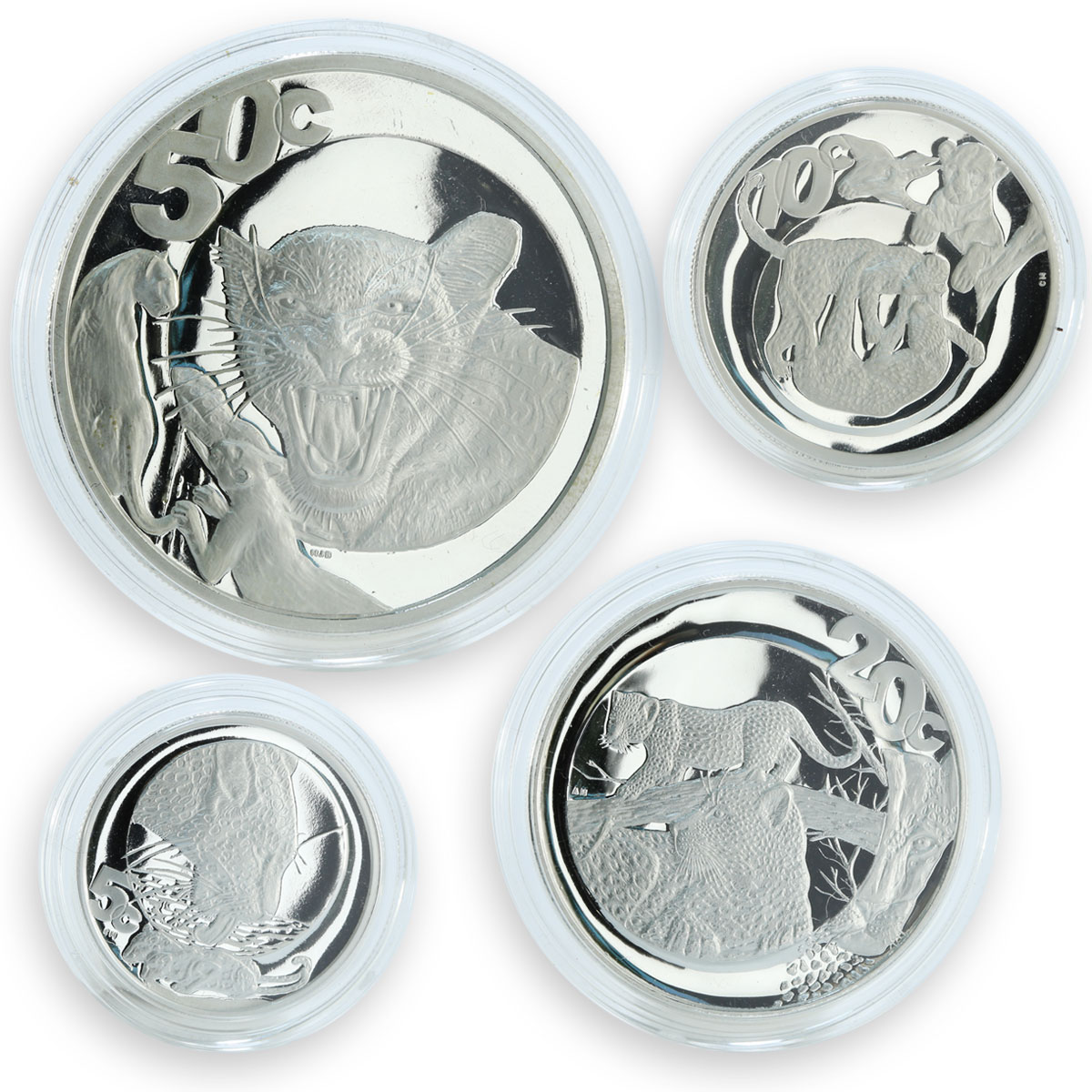 South Africa set 4 coins 50,20,10,5 cents Wildlife The Leopard proof silver 2004