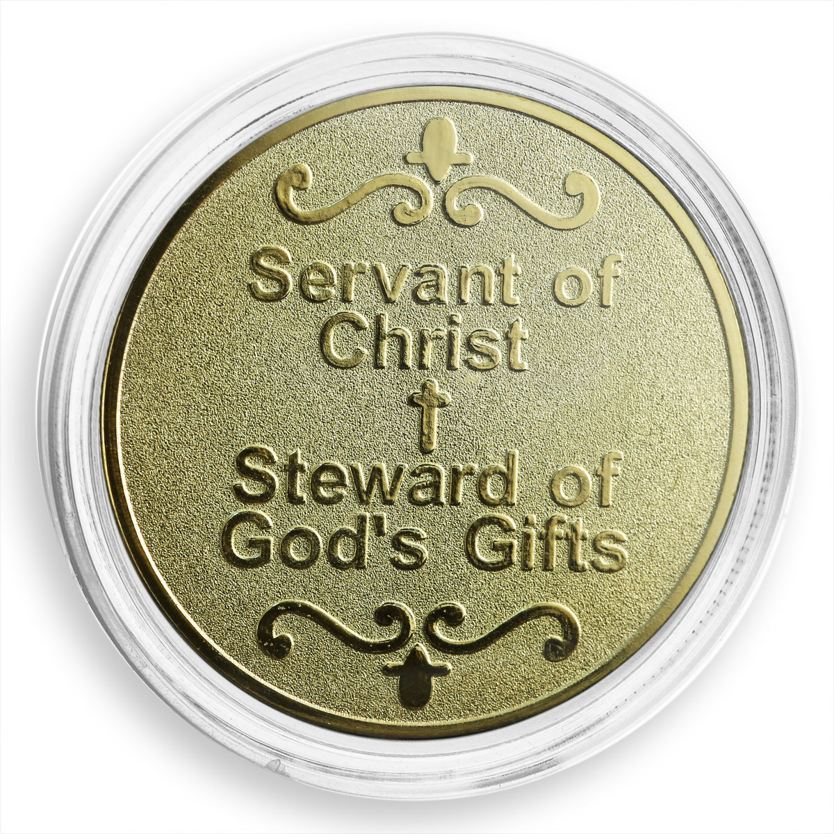 The servants of Christ and stewards of God's gifts, Cross, gilded token