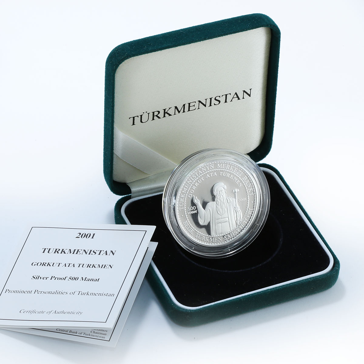 Turkmenistan 500 manat Gorkut poet songwriter and composer silver coin 2001