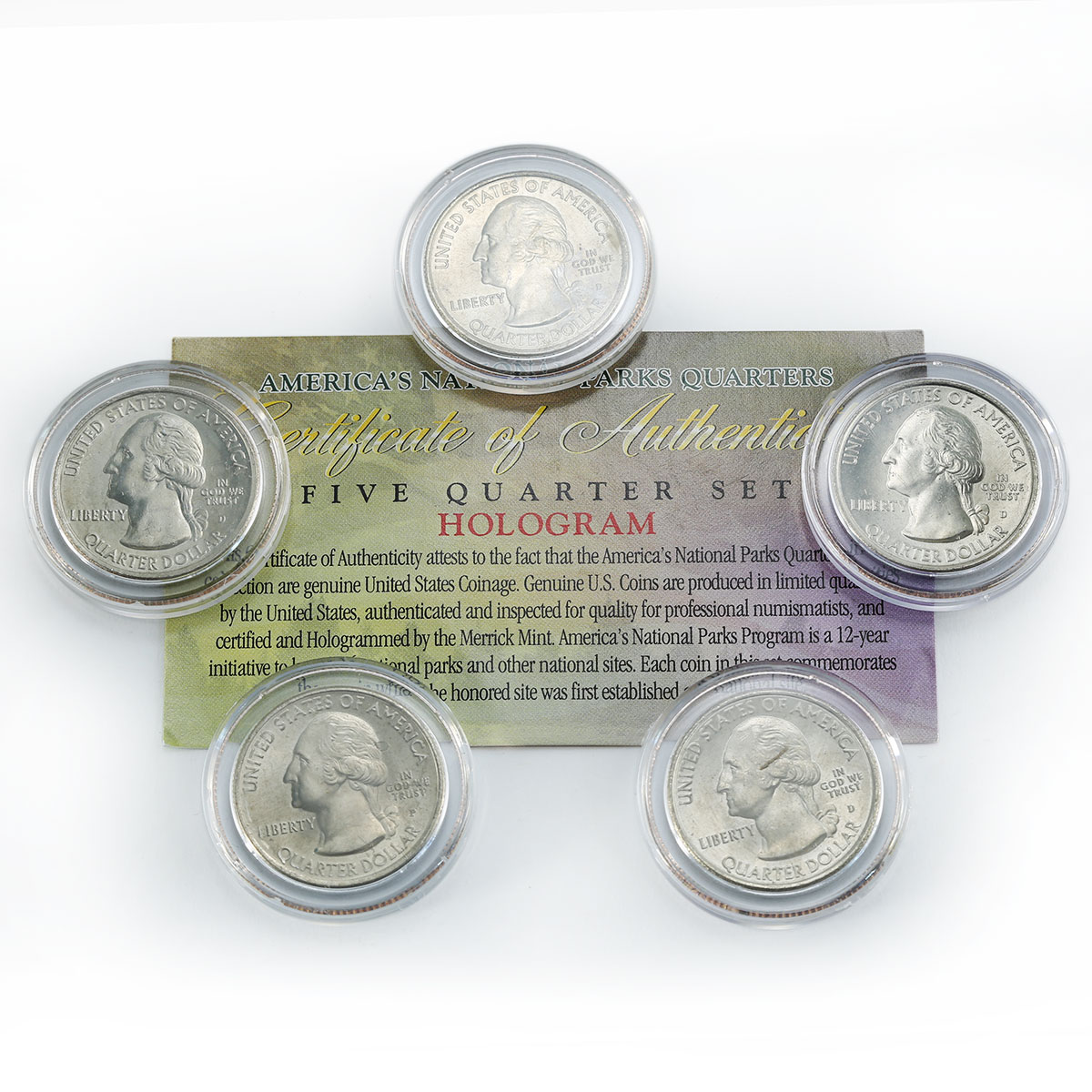 US 25 cents set of 5 America's National Park hologram coins 2012