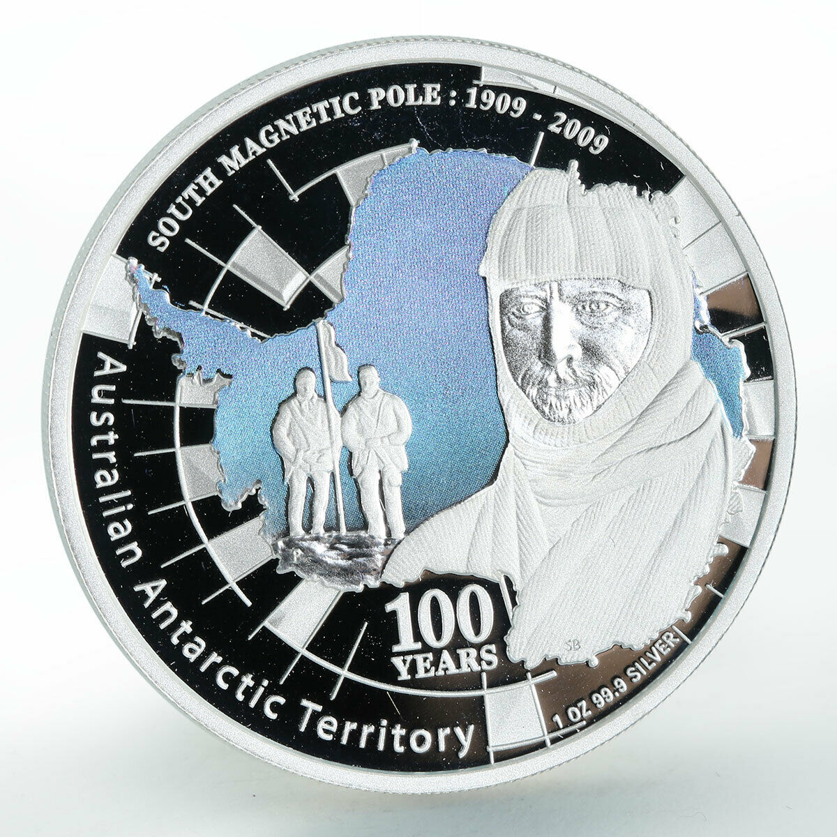 Australia 1 dollar Antarctic South Magnetic Pole silver coin 1909 - 2009