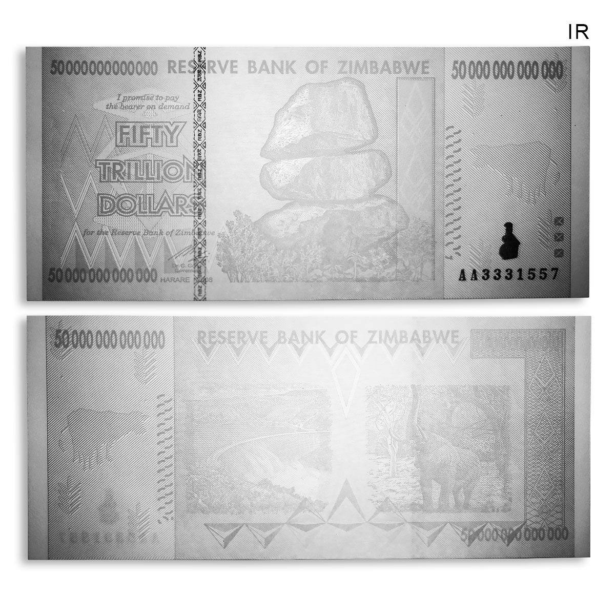 ZIMBABWE 50 TRILLION DOLLARS AA Series BANKNOTE CURRENCY UNCIRCULATED 2008