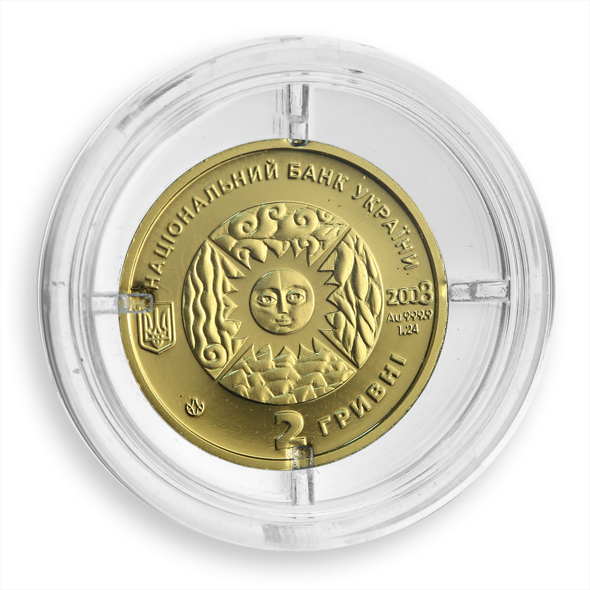 Ukraine 2 hryvnas Signs of the Zodiac Cancer Golden Coin 2008