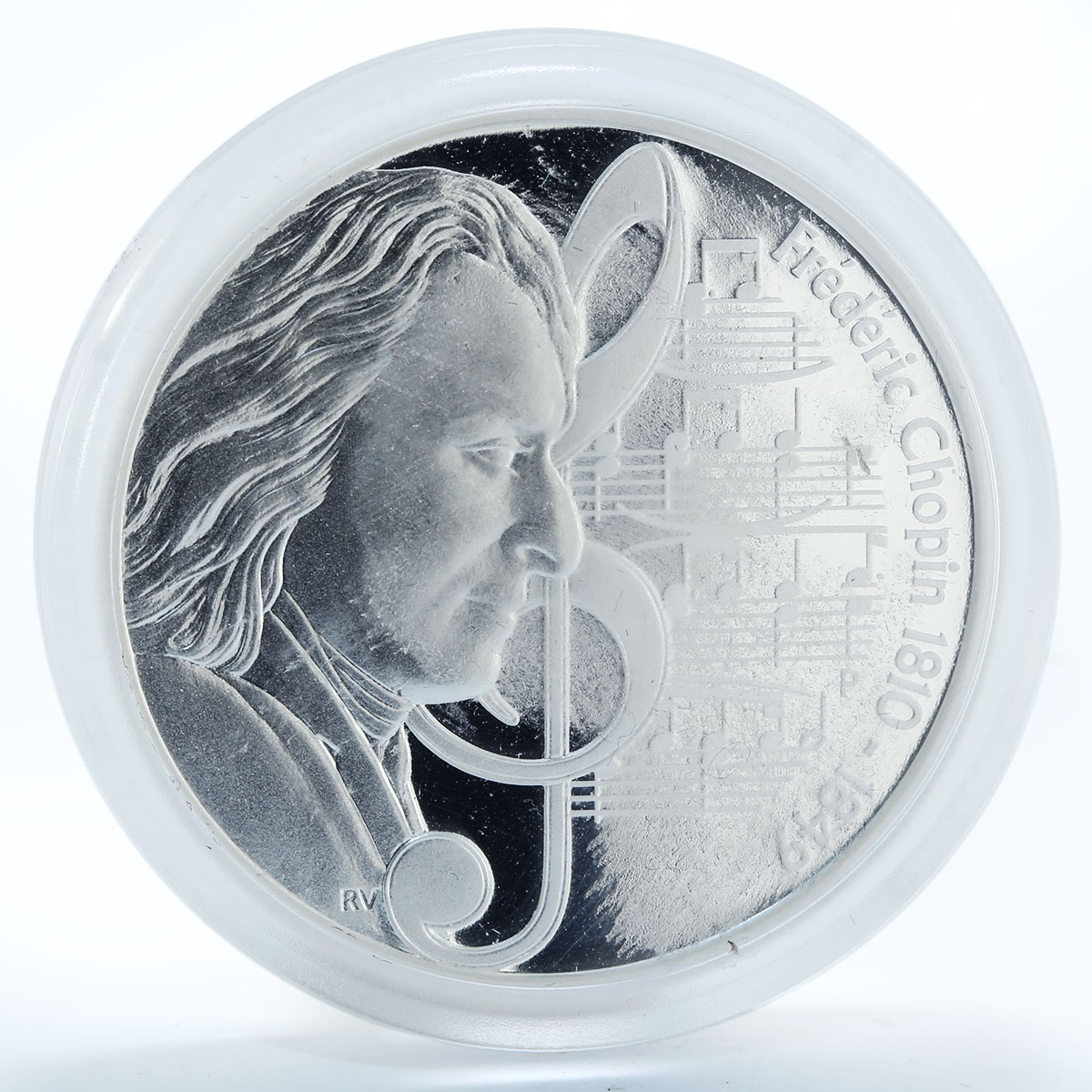 Tuvalu 1 dollar Frederik Chopin 1810-1849 proof silver coin 2010