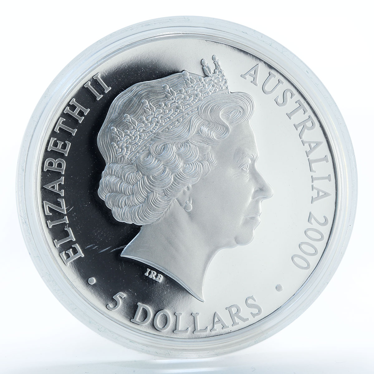 Australia 5 dollars Sydney Olympic logo at bottom silver coin 2000