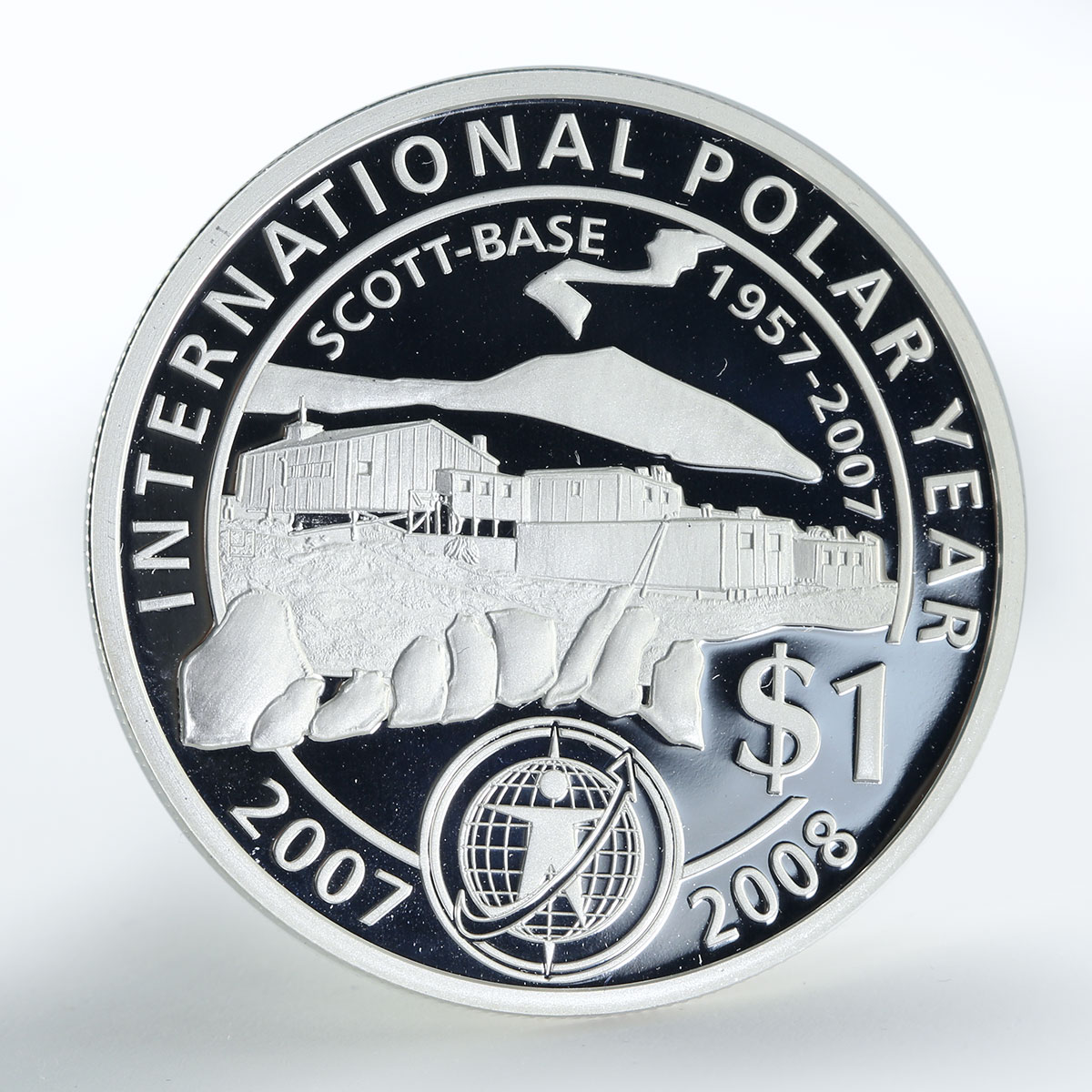 New Zealand 1 dollar Scott Base 1957-2007 proof silver coin 2007