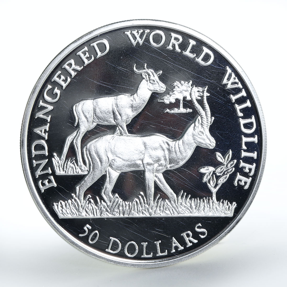 Cook Islands 50 dollars Wildlife Series Dama gazelle silver coin 1990