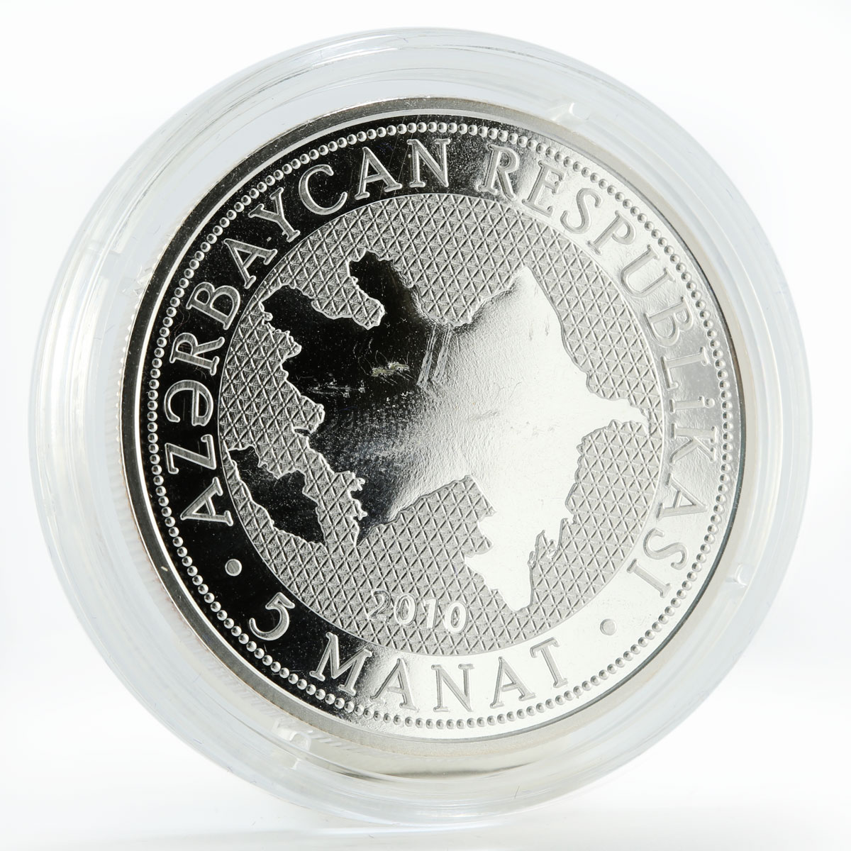 Azerbaijan 5 manat 135th anniversary National Press silver coin 2010