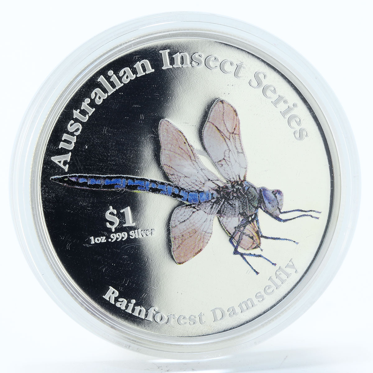 Cook Islands 1 dollar Rainforest Damselfly proof silver coin 2000