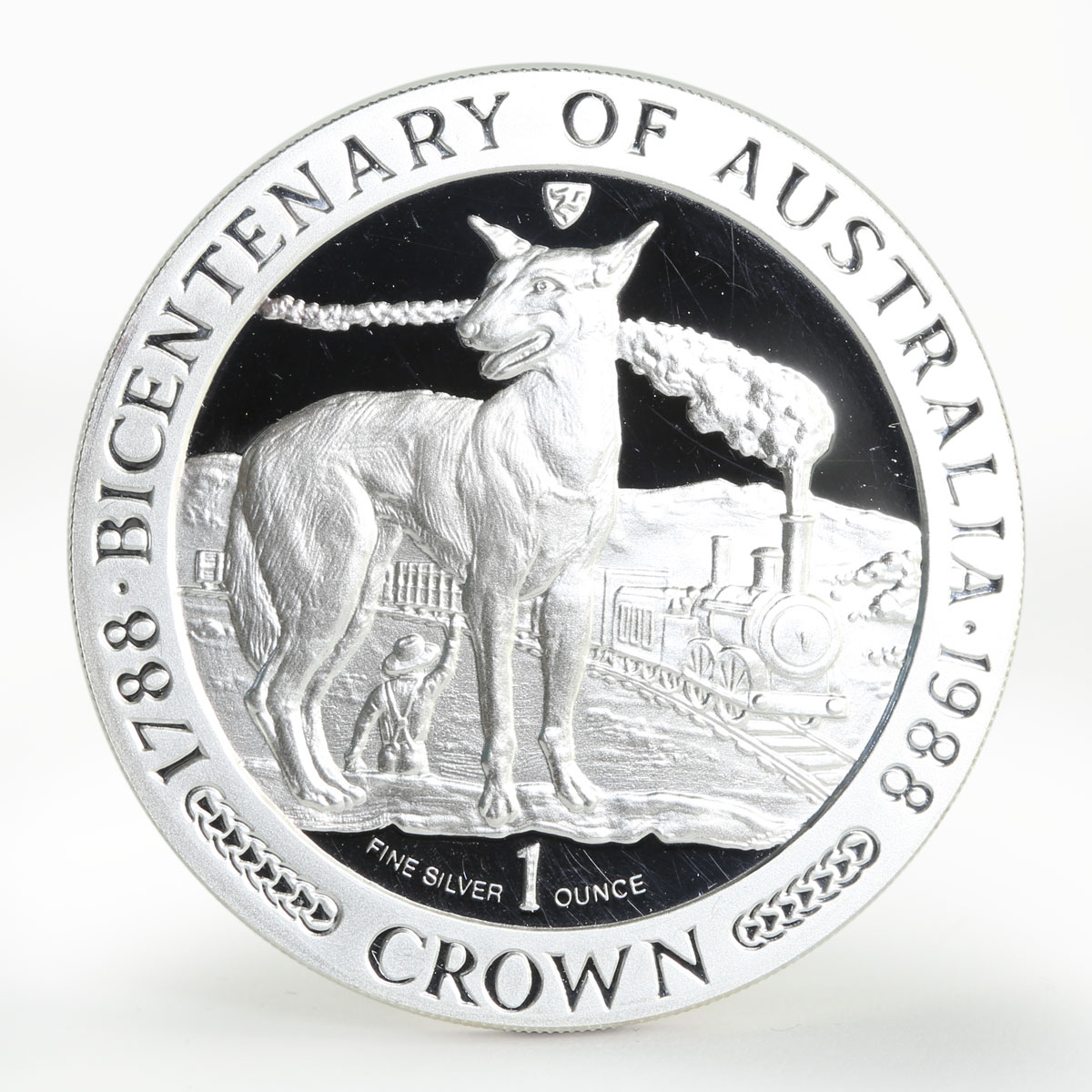 Isle of Man 1 crown Bicentenary of Australia proof silver coin 1988
