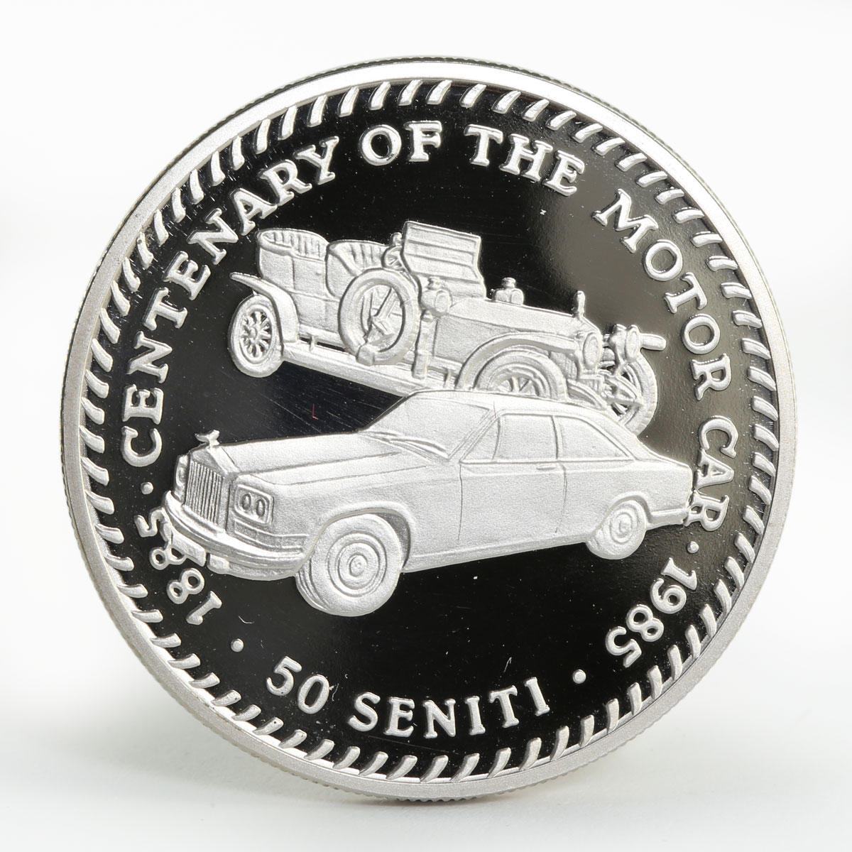 Tonga 50 seniti Rolls Royce cars proof copper-nickel coin 1985